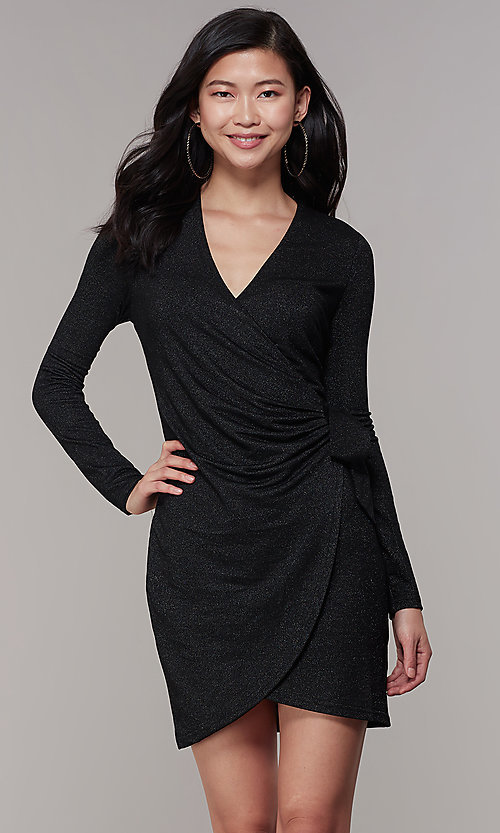 Image of wrap short glitter-knit long-sleeve party dress. Style: CHE-D16097CXJ Front Image