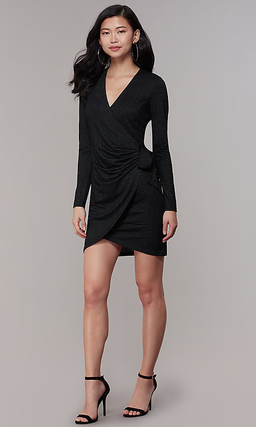 Image of wrap short glitter-knit long-sleeve party dress. Style: CHE-D16097CXJ Detail Image 3