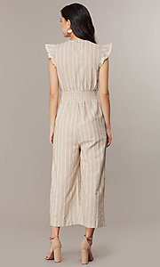 Image of cropped-leg v-neck striped causal jumpsuit. Style: CHE-JS16104COQ Back Image