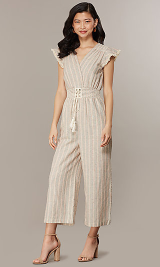 Cropped-Leg V-Neck Striped Casual Jumpsuit