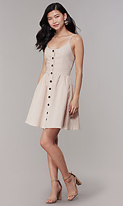 Image of cotton button-front short casual party dress. Style: CHE-D16081CXK Detail Image 3