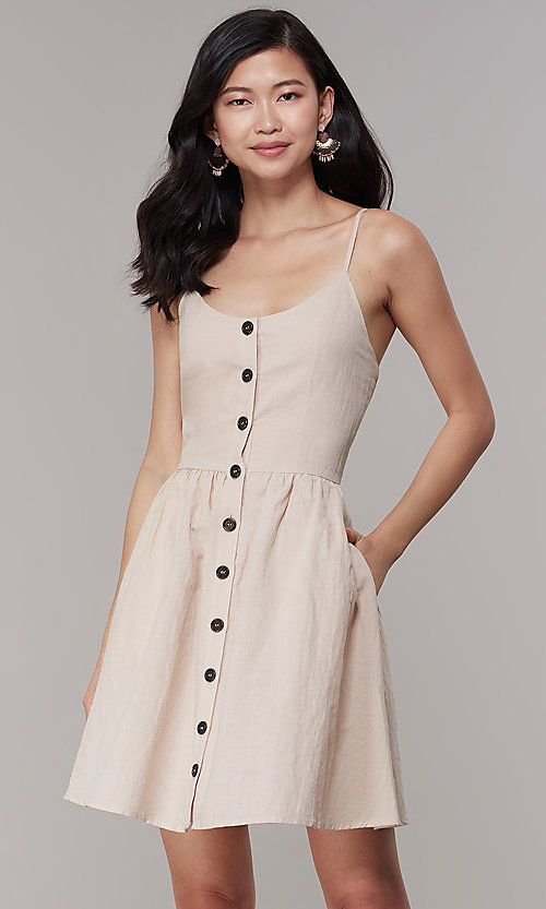 Image of cotton button-front short casual party dress. Style: CHE-D16081CXK Front Image