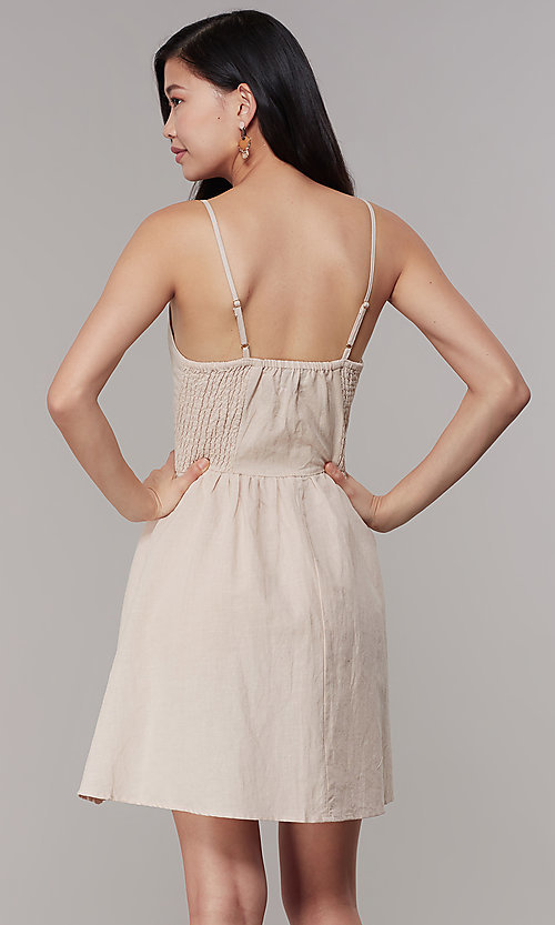 Image of cotton button-front short casual party dress. Style: CHE-D16081CXK Back Image