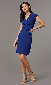 Image of navy blue short party dress with cap sleeves. Style: ECI-720478-7749A Detail Image 2