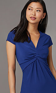 Image of navy blue short party dress with cap sleeves. Style: ECI-720478-7749A Detail Image 1