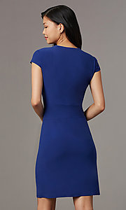 Image of navy blue short party dress with cap sleeves. Style: ECI-720478-7749A Back Image