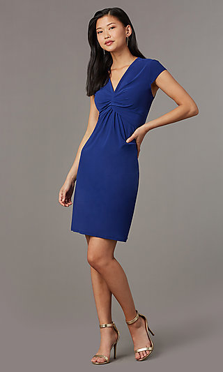 Navy Blue Short Cap-Sleeve Party Dress