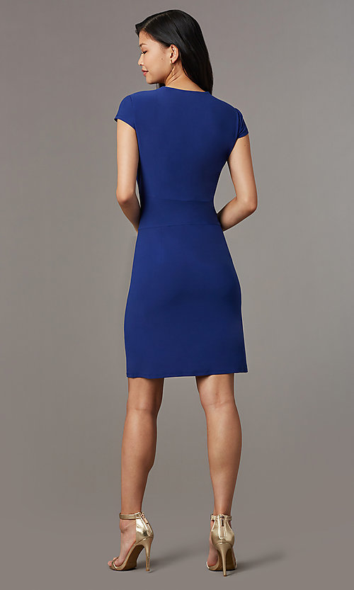 Image of navy blue short party dress with cap sleeves. Style: ECI-720478-7749A Detail Image 3