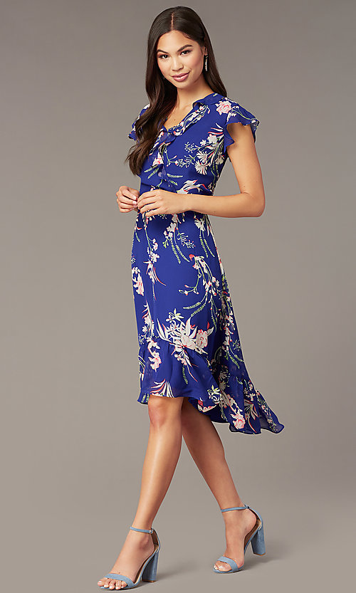 Image of floral-print high-low party dress with ruffles. Style: ECI-720471-75979 Front Image
