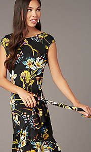 Image of floral-print knee-length party dress. Style: ECI-720463-75845A Detail Image 1