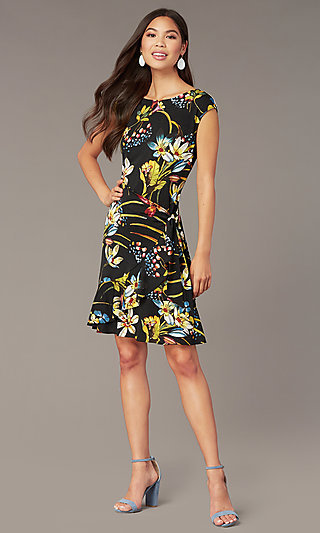Floral-Print Knee-Length Party Dress