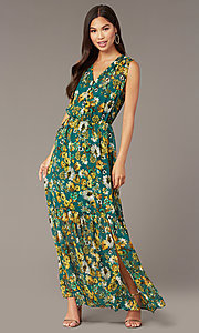 Image of dark teal floral-print long chiffon party dress. Style: ECI-719590-76037A Front Image