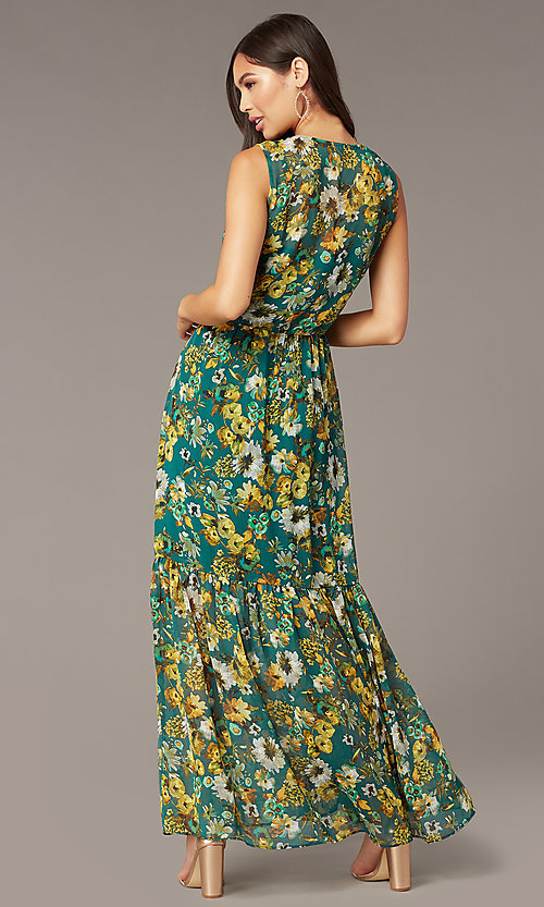 Image of dark teal floral-print long chiffon party dress. Style: ECI-719590-76037A Back Image