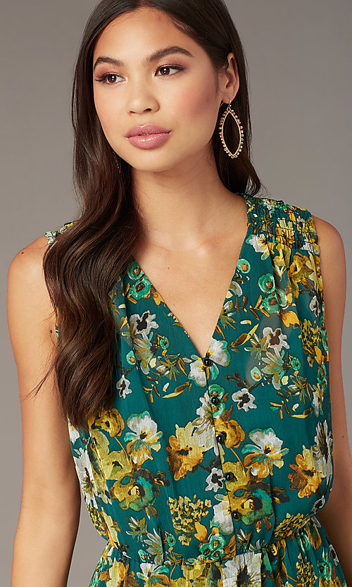 Image of dark teal floral-print long chiffon party dress. Style: ECI-719590-76037A Detail Image 1