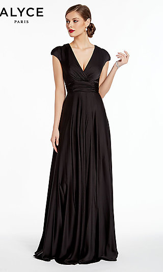 Long Satin V-Neck Formal Gown with a Ruched Waist
