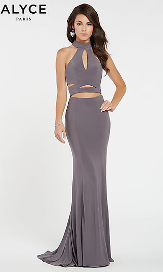 Long Sleeveless Formal Gown with A Mock Neckline