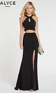 Image of Alyce two-piece long black formal prom dress. Style: AL-60284 Front Image