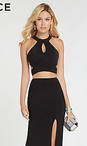 Image of Alyce two-piece long black formal prom dress. Style: AL-60284 Detail Image 1