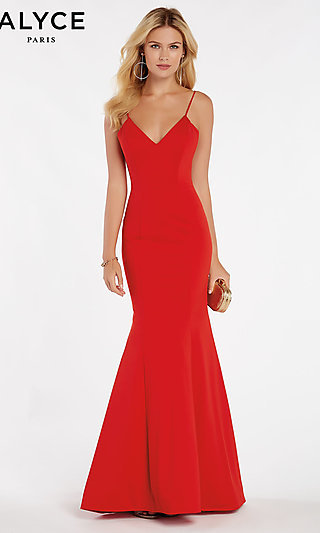 Long V-Neck Classic Mermaid Alyce Formal Gown