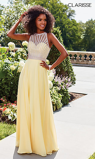 b34c2c5bb92 Long Chiffon High-Neck Clarisse Prom Dress