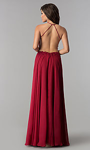 Image of Blush sheer-lace-bodice long chiffon formal dress. Style: BL-PG006-v Detail Image 3