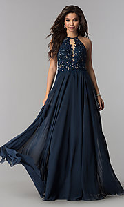 Image of Blush sheer-lace-bodice long chiffon formal dress. Style: BL-PG006-v Front Image