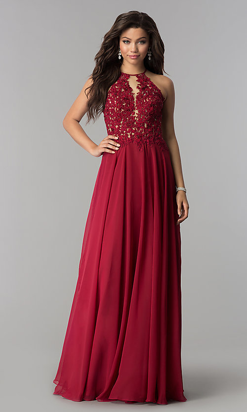 Image of Blush sheer-lace-bodice long chiffon formal dress. Style: BL-PG006-v Detail Image 2