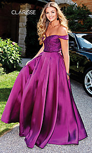Image of Clarisse long lace-bodice sweetheart prom dress. Style: CLA-3762 Front Image