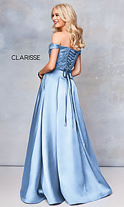 Image of Clarisse long lace-bodice sweetheart prom dress. Style: CLA-3762 Detail Image 1