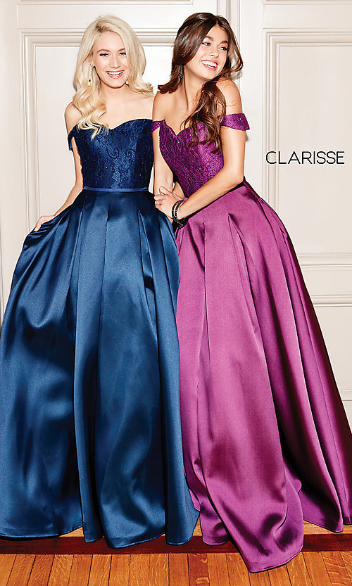 Image of Clarisse long lace-bodice sweetheart prom dress. Style: CLA-3762 Detail Image 2