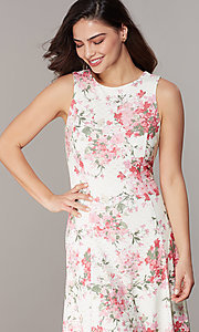 Image of floral-print ivory lace short party dress. Style: JU-TI-t3117 Detail Image 1