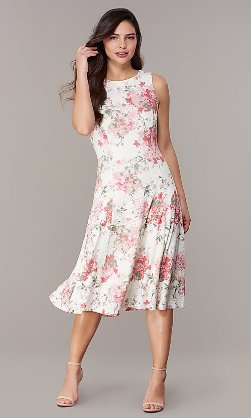 Image of floral-print ivory lace short party dress. Style: JU-TI-t3117 Front Image
