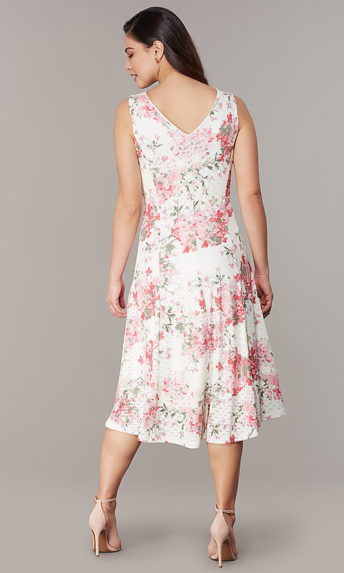 Image of floral-print ivory lace short party dress. Style: JU-TI-t3117 Back Image