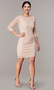 Image of sleeved sequin-lace short cocktail party dress. Style: JU-TI-t2038 Front Image