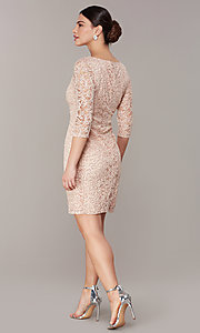 Image of sleeved sequin-lace short cocktail party dress. Style: JU-TI-t2038 Back Image
