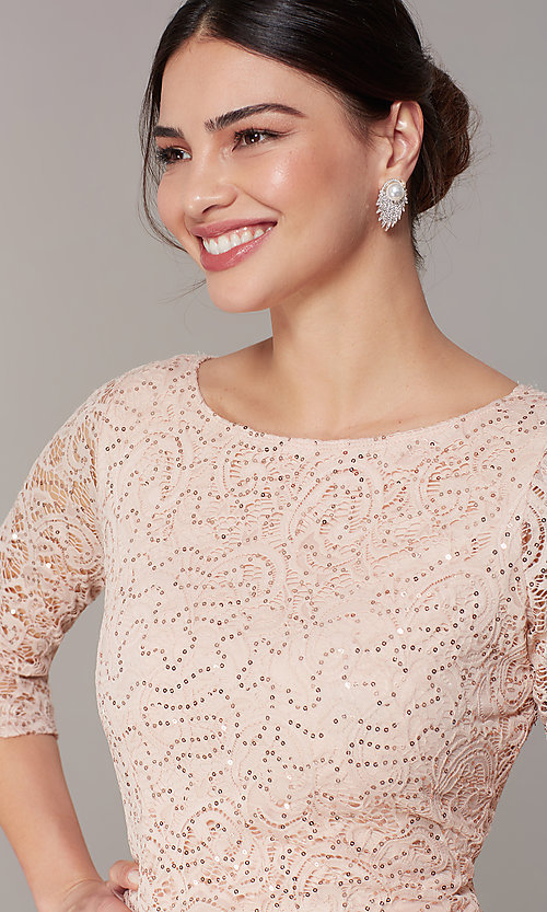 Image of sleeved sequin-lace short cocktail party dress. Style: JU-TI-t2038 Detail Image 1