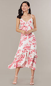 Image of midi-length floral-print wedding-guest dress. Style: IF-CD235L Front Image