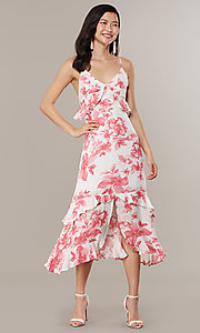 Image of midi-length floral-print wedding-guest dress. Style: IF-CD235L Detail Image 3