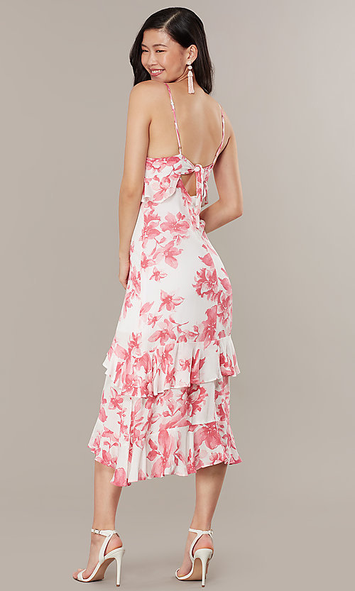 Image of midi-length floral-print wedding-guest dress. Style: IF-CD235L Back Image