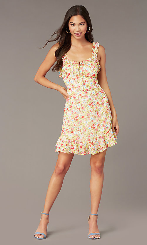 Image of sleeveless floral-print casual short dress. Style: IF-CD242L Front Image