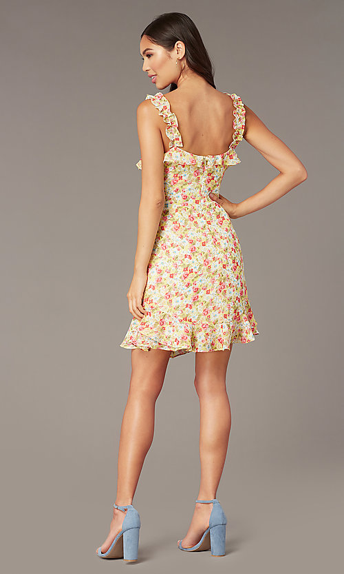 Image of sleeveless floral-print casual short dress. Style: IF-CD242L Back Image