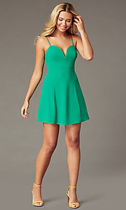Image of cotton short green party dress with back bows. Style: IF-51921DQ Front Image