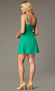 Image of cotton short green party dress with back bows. Style: IF-51921DQ Back Image