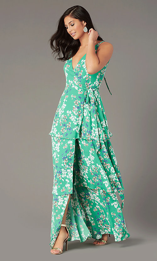 Image of long casual wrap-style print wedding-guest dress. Style: IF-BD1457 Front Image