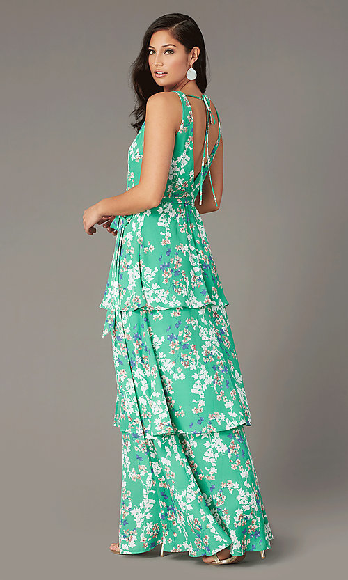 Image of long casual wrap-style print wedding-guest dress. Style: IF-BD1457 Back Image
