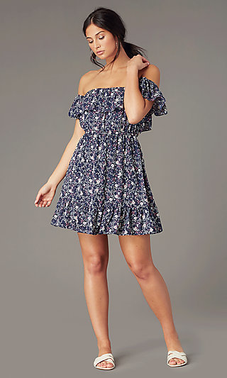 Casual Short Off-the-Shoulder Print Party Dress