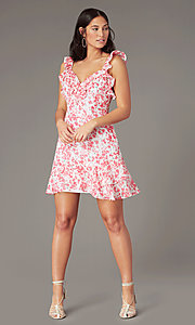 Image of v-neck white and pink print short party dress. Style: IF-CD351L Front Image