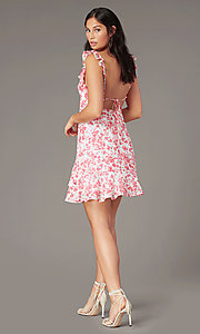 Image of v-neck white and pink print short party dress. Style: IF-CD351L Back Image