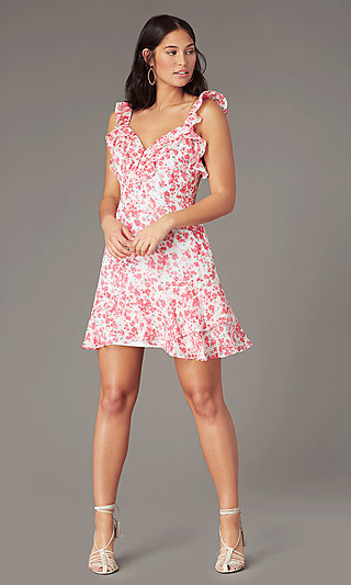 V-Neck White and Pink Print Short Party Dress