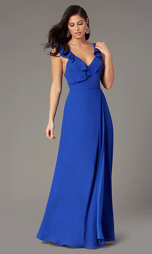 Long Wedding Guest Dress With Ruffled Cap Sleeves